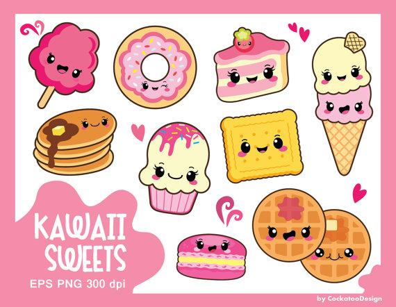 Kawaii clipart.  off sweets food