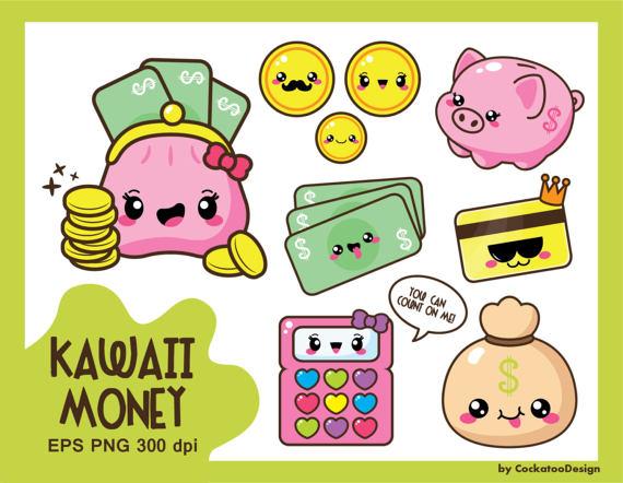 Money budget coin ilxn. Kawaii clipart