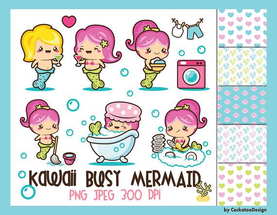 Kawaii clipart.  off mermaid clip