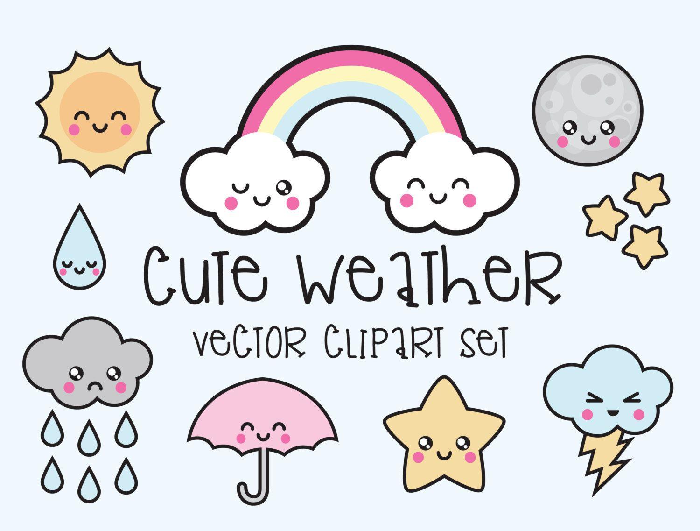 Premium vector weather . Kawaii clipart