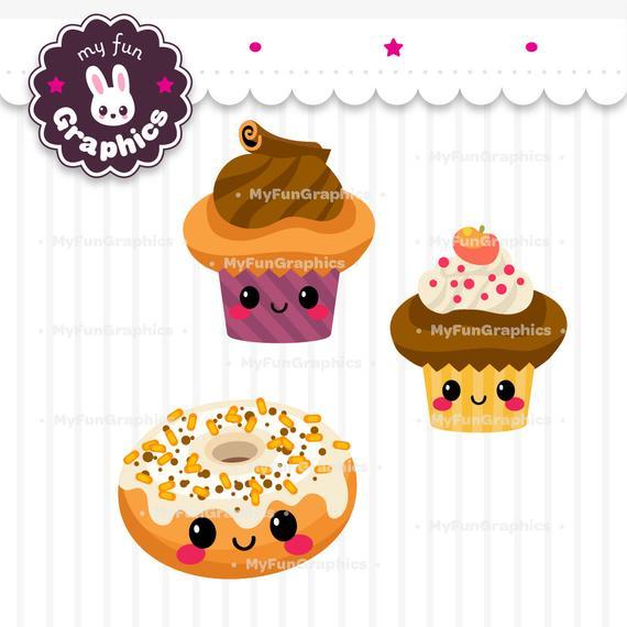 Kawaii clipart dessert. Autumn sweets clip art