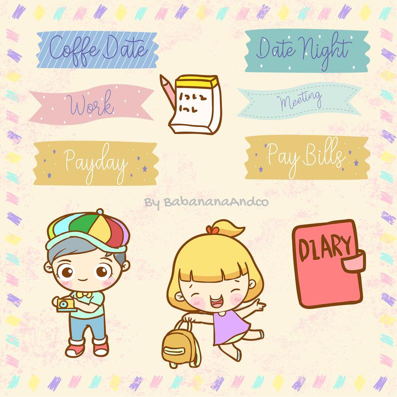Cute girl and boy. Planner clipart diary dates