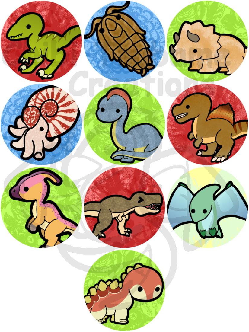 Dino buttons by izit. Kawaii clipart dinosaur