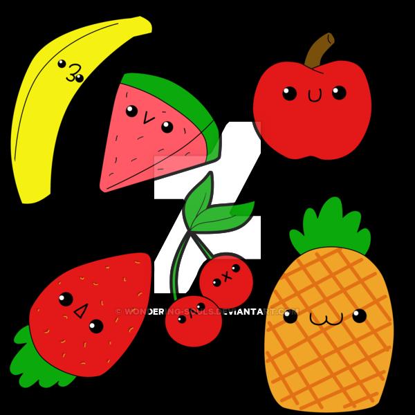 Chibi fruits by sambeawesome. Strawberries clipart kawaii
