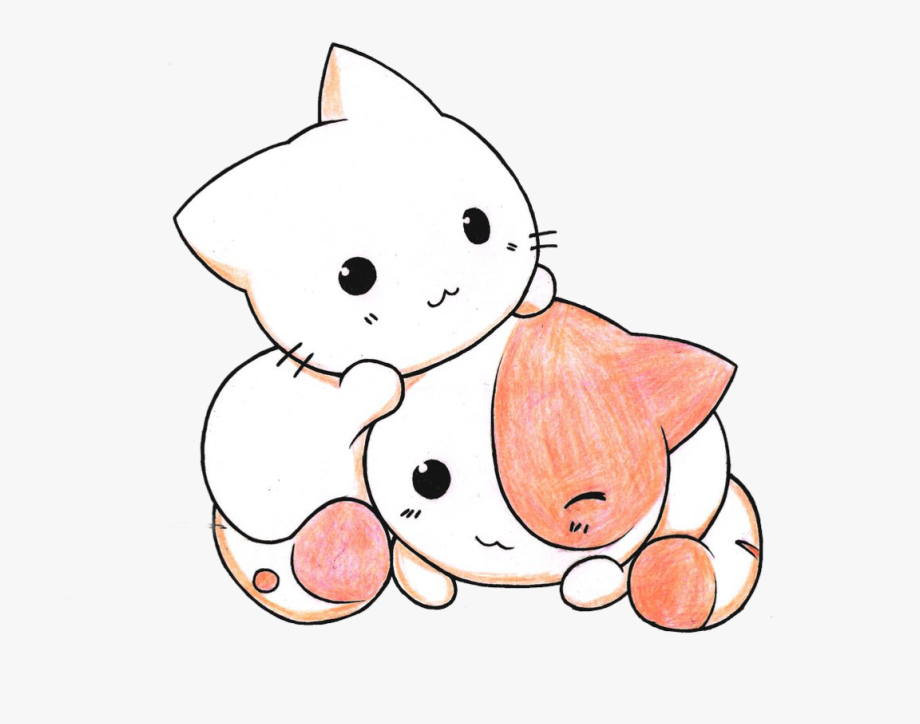 Cute cats drawing cliparts. Kawaii clipart kitten