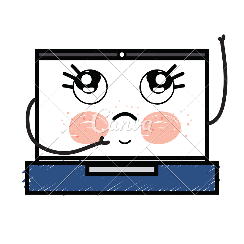 Kawaii clipart laptop. Cute thinking icons by