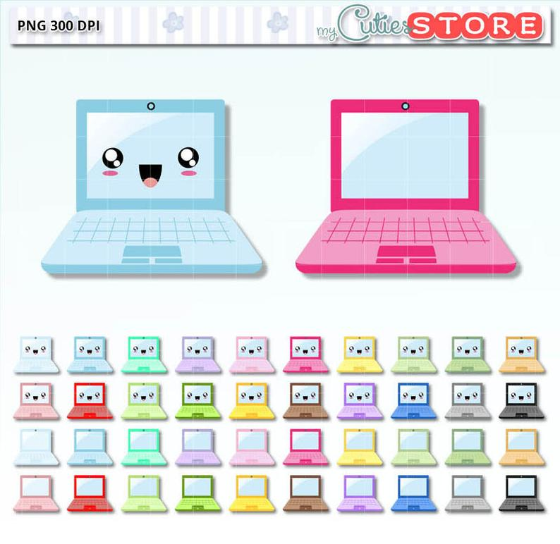 Kawaii clipart laptop. Computer design clip art