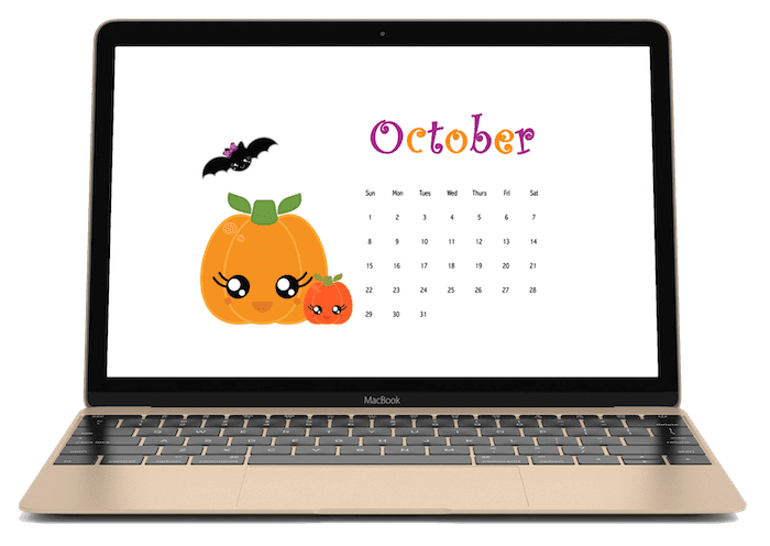 Kawaii clipart laptop. October calendar wallpaper freebie