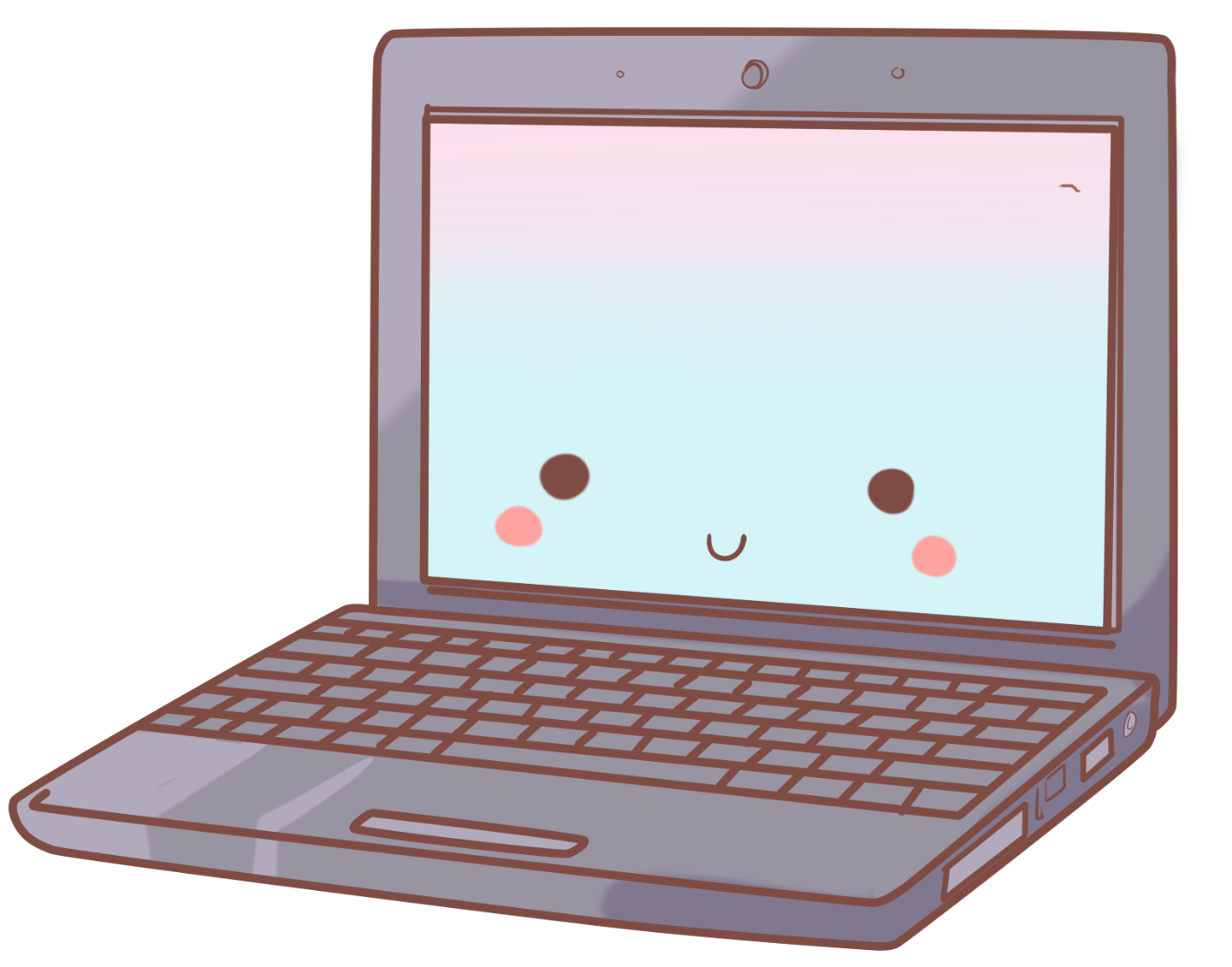 Cris garriga illustration. Kawaii clipart laptop
