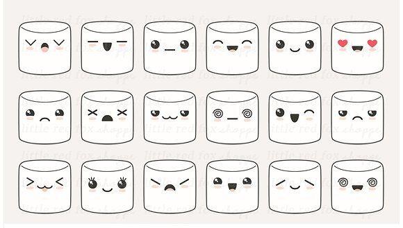 marshmallow clipart kawaii