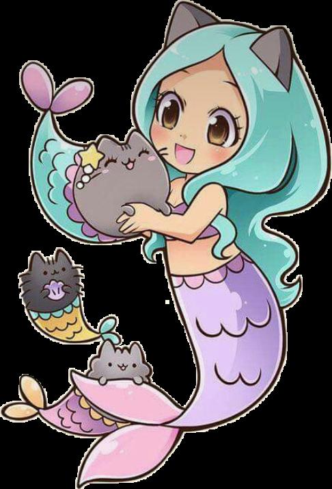 Cute cat cats mermaids. Kawaii clipart mermaid