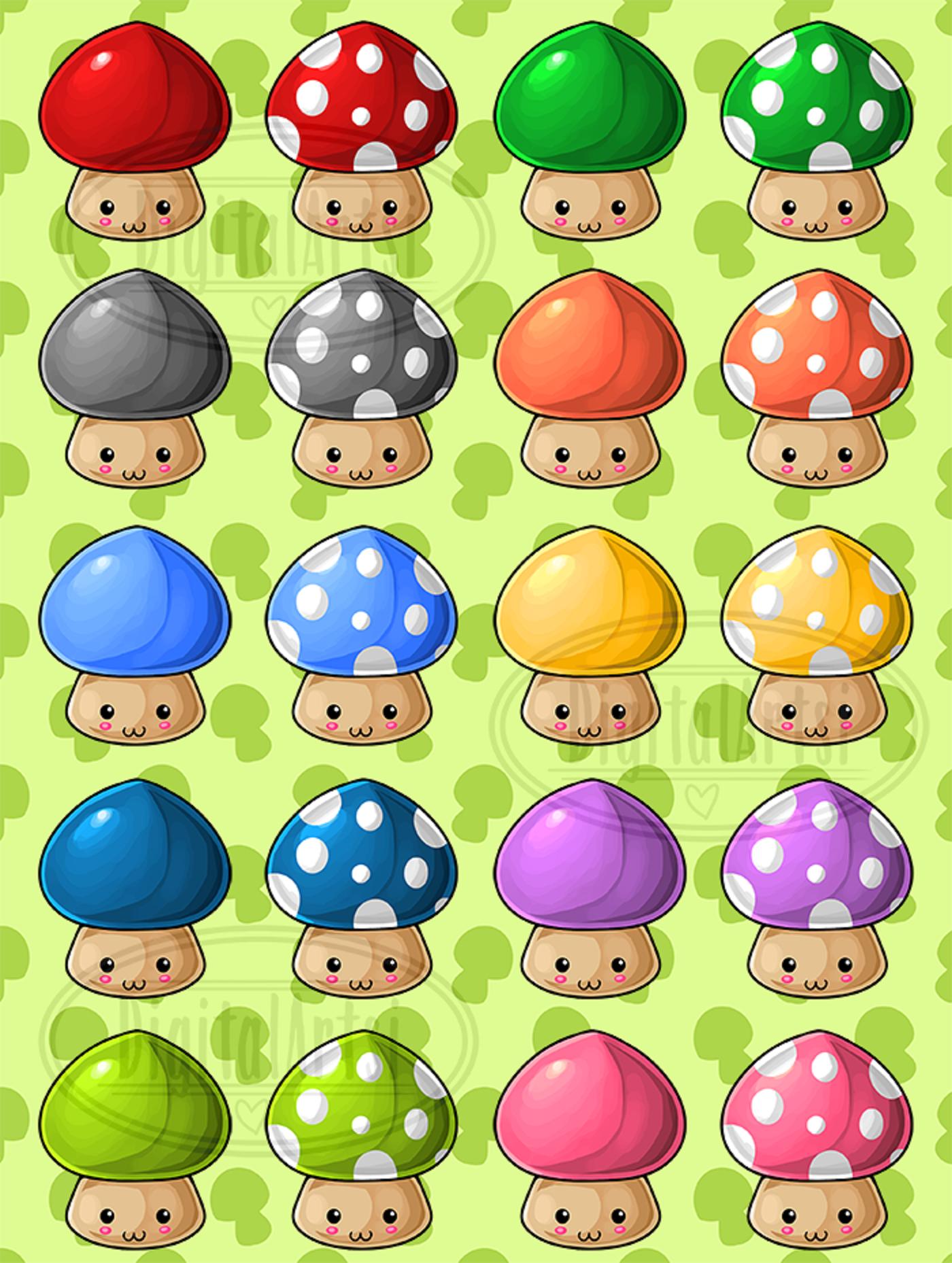 Mushroom clipart kawaii.