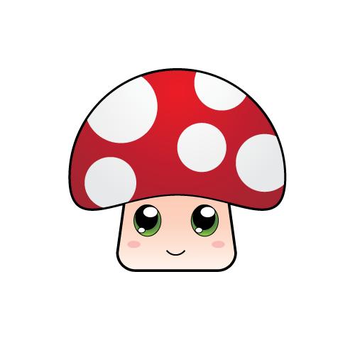 Graphics cute images . Mushroom clipart kawaii