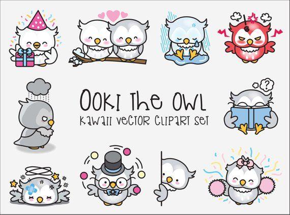 Premium vector ooki the. Owls clipart kawaii