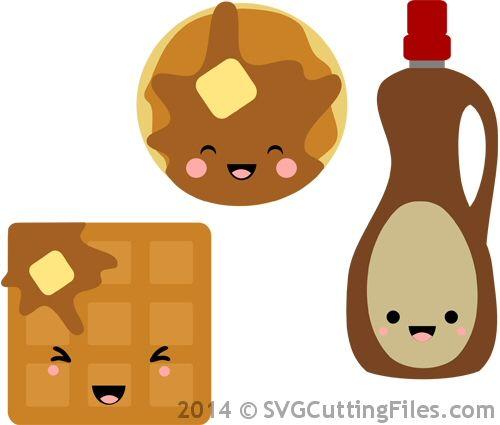 Pancakes and waffles tarjeteria. Waffle clipart kawaii