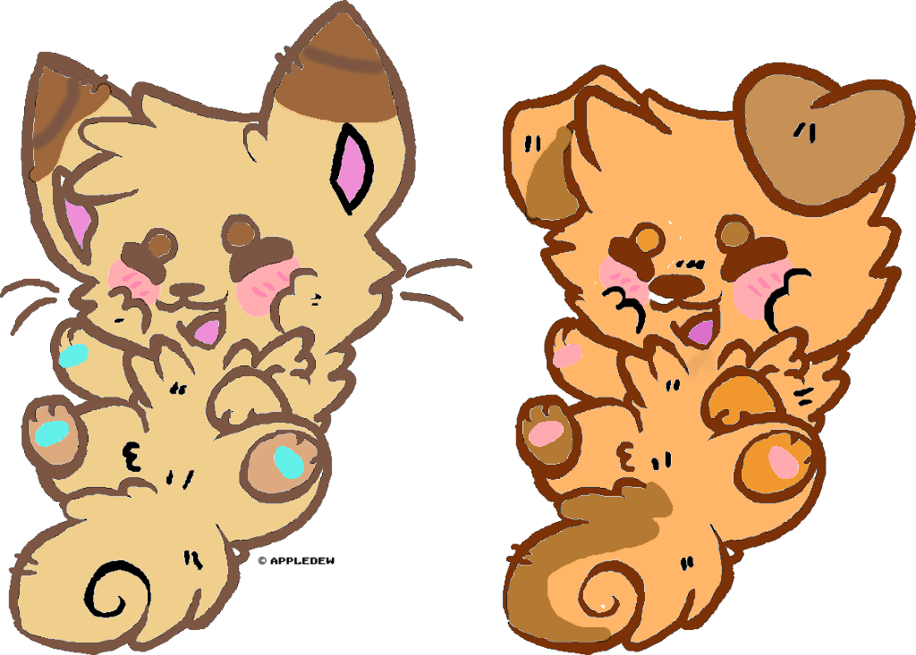 Chibi wolf and kitten. Wolves clipart kawaii