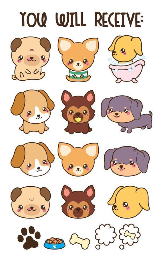 Dog cute breeds . Kawaii clipart puppy