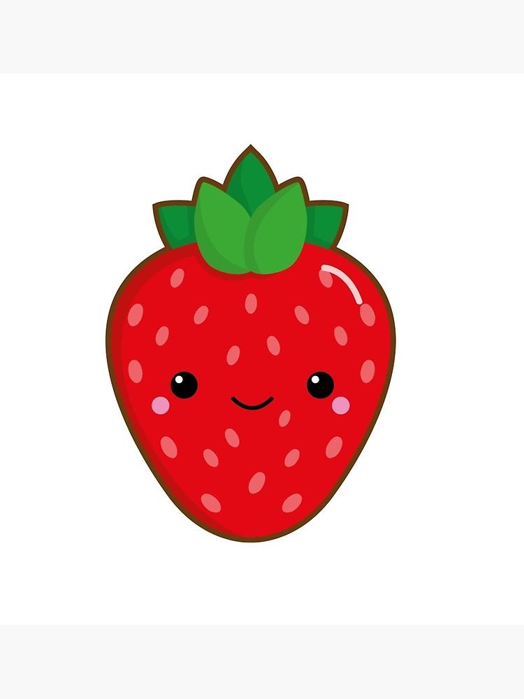 Strawberries clipart kawaii. Strawberry poster