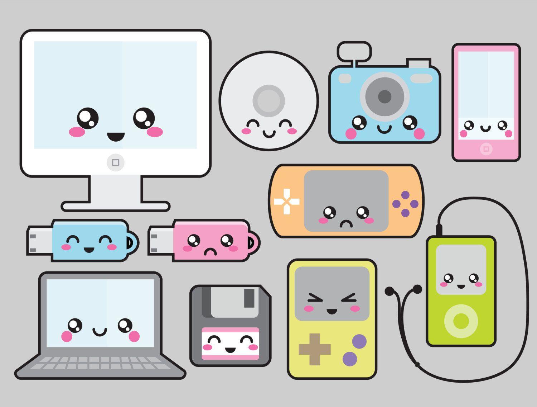 Premium vector kawaii . Technology clipart cute