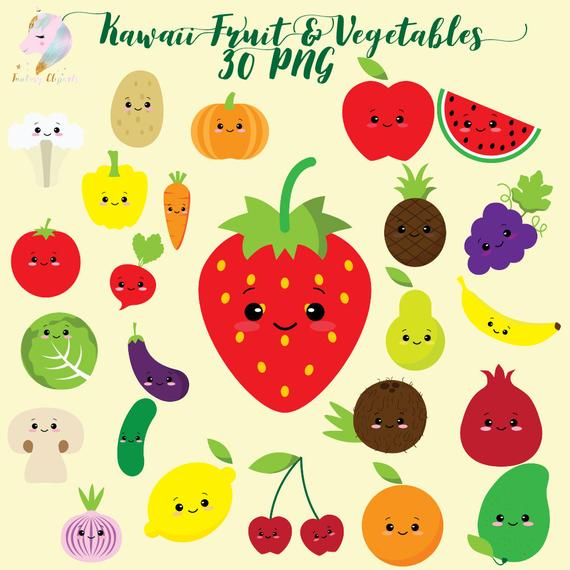 Vegetables clipart fair. Cute fruit kawaii vegetable