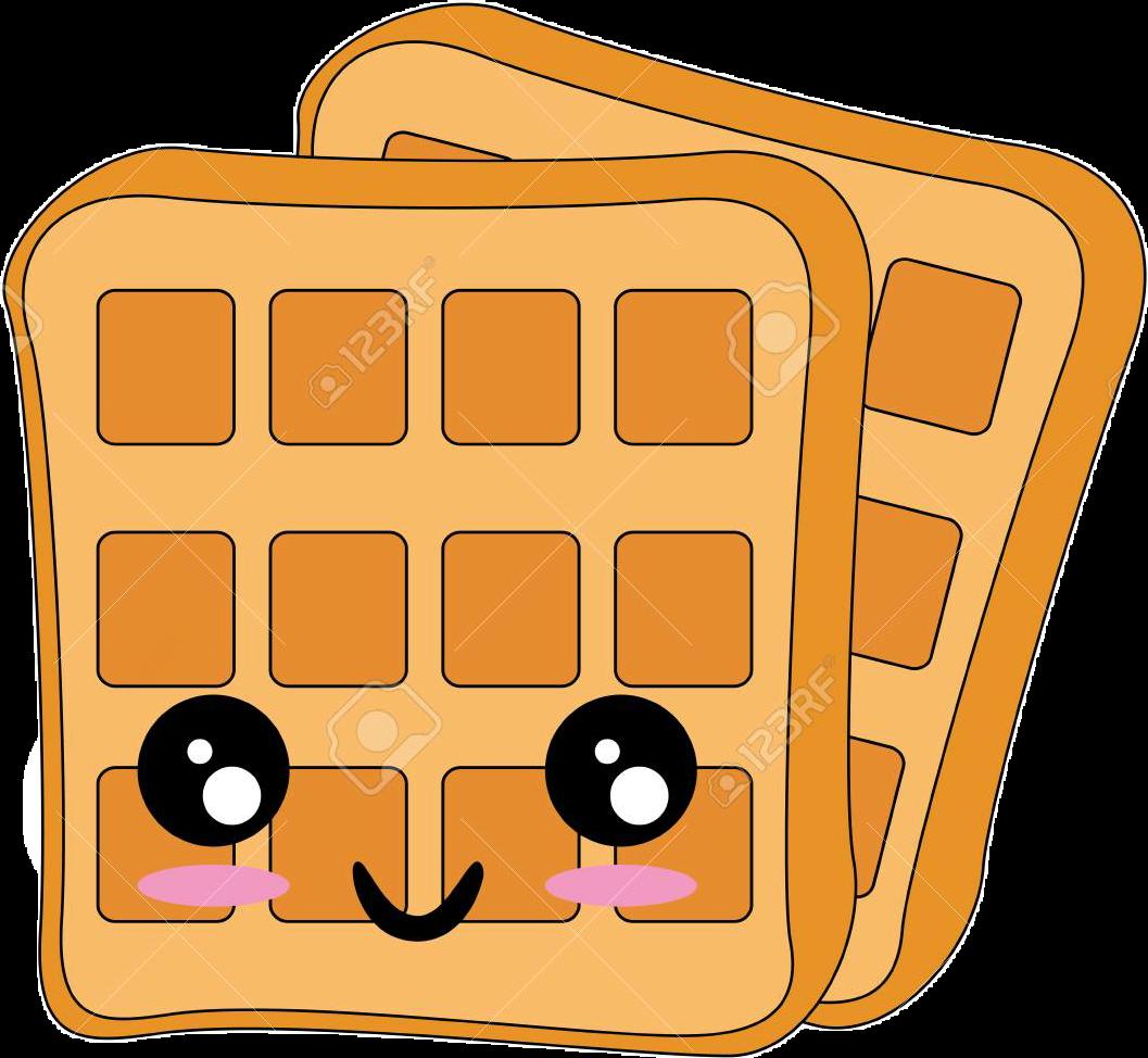 Sticker by anime chan. Waffle clipart kawaii