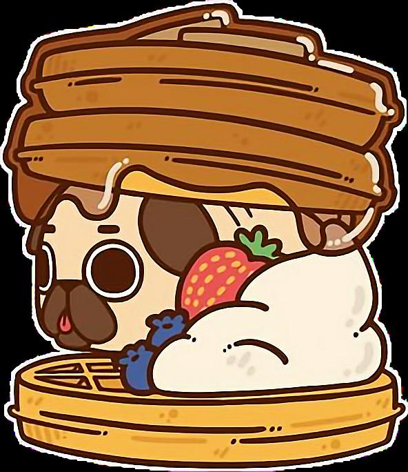 pug pugl. Waffle clipart kawaii