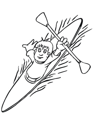 Boy floating on kayak. Kayaking clipart coloring page