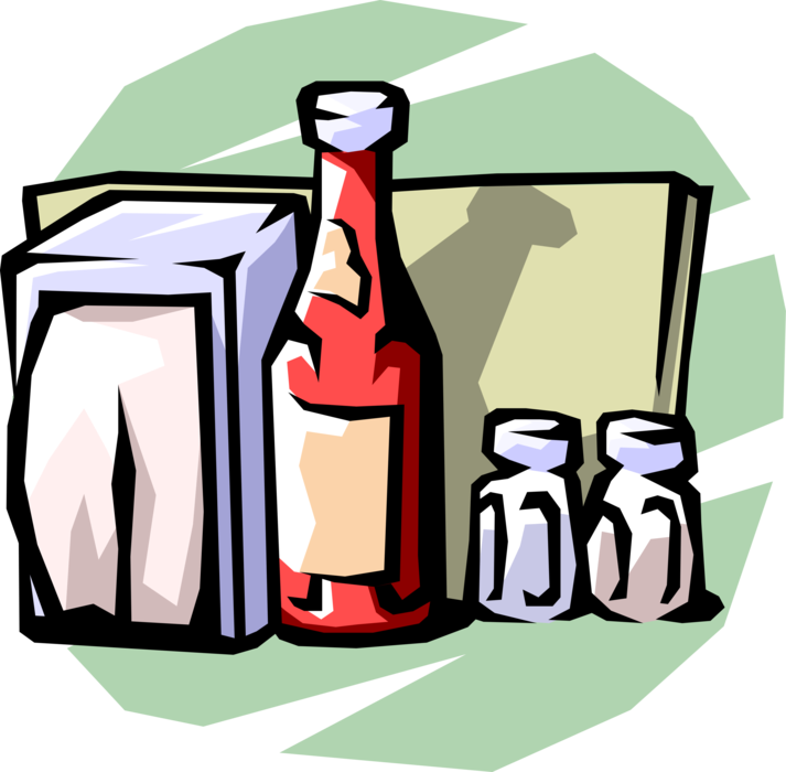 Restaurant menu condiments with. Napkin clipart dining