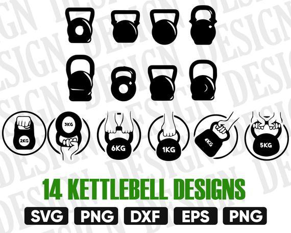 Svg barbel silhouette dxf. Kettlebell clipart barbell