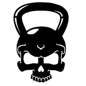 Kettlebell clipart black. Skull vinyl sticker