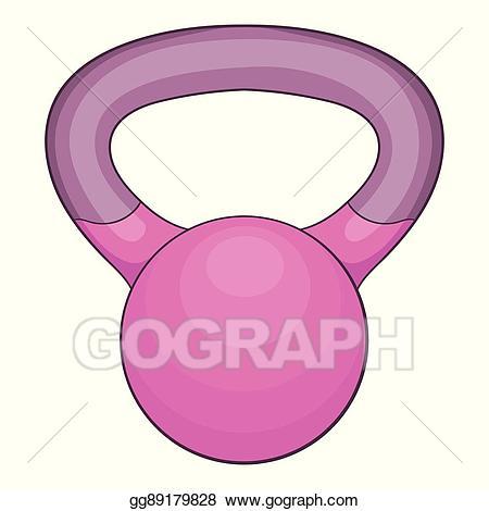 Vector stock icon cartoon. Kettlebell clipart pink
