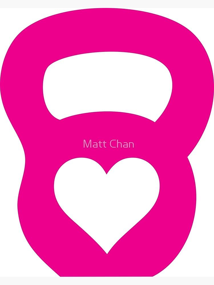 Heart canvas print . Kettlebell clipart pink
