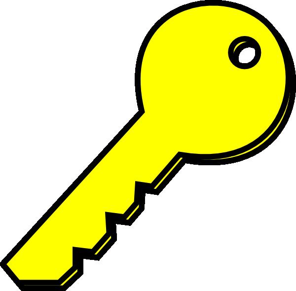 Key clipart. Yellow clip art at