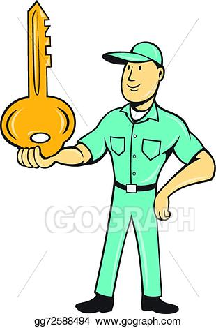 Vector illustration balancing key. Keys clipart locksmith
