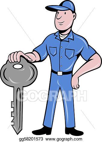 Stock illustration standing front. Keys clipart locksmith