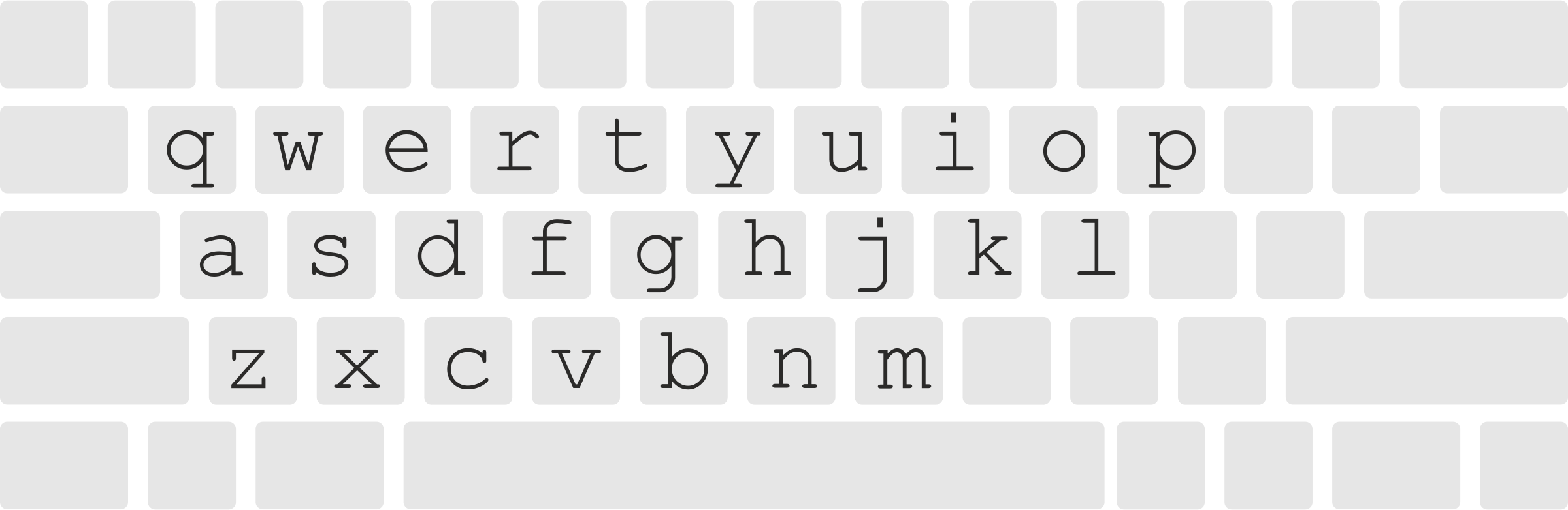 White clipart keyboard. Layout with letters big