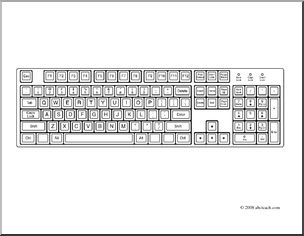 Keyboard clipart coloring page. Clip art computer i