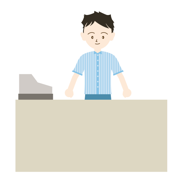 A convenience store clerk. Keyboard clipart item