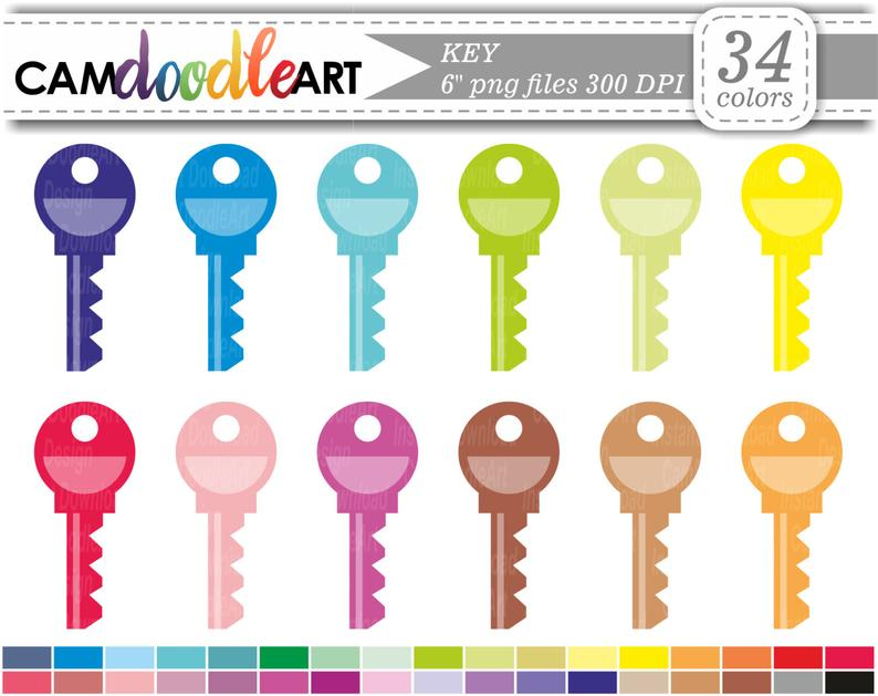 Office rainbow scrapbooking instant. Keys clipart colorful key