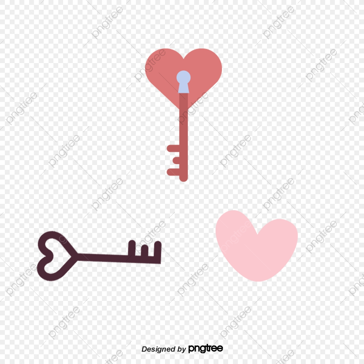 Cartoon cute lovely heart. Keys clipart pretty
