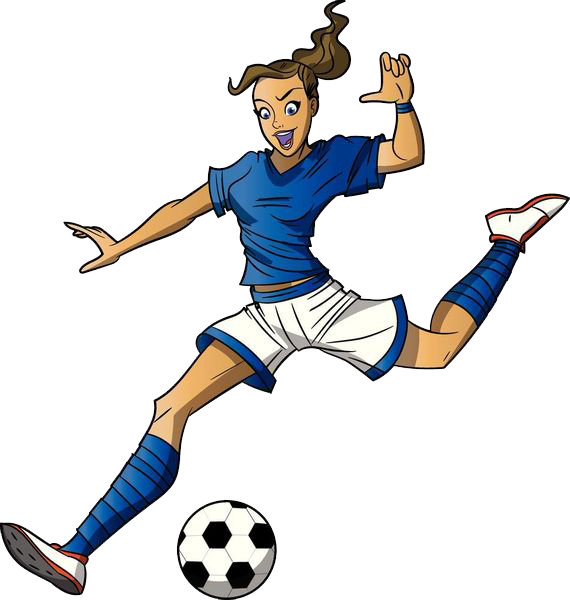 Kickball clipart sport. Football player cartoon girl