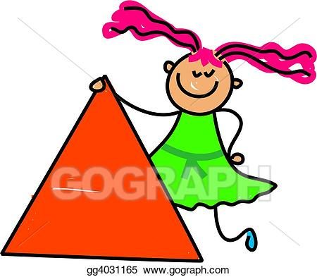 Triangular clipart kid. Stock illustration triangle drawing
