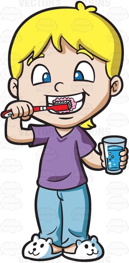 A cute brushing his. Tooth clipart boy