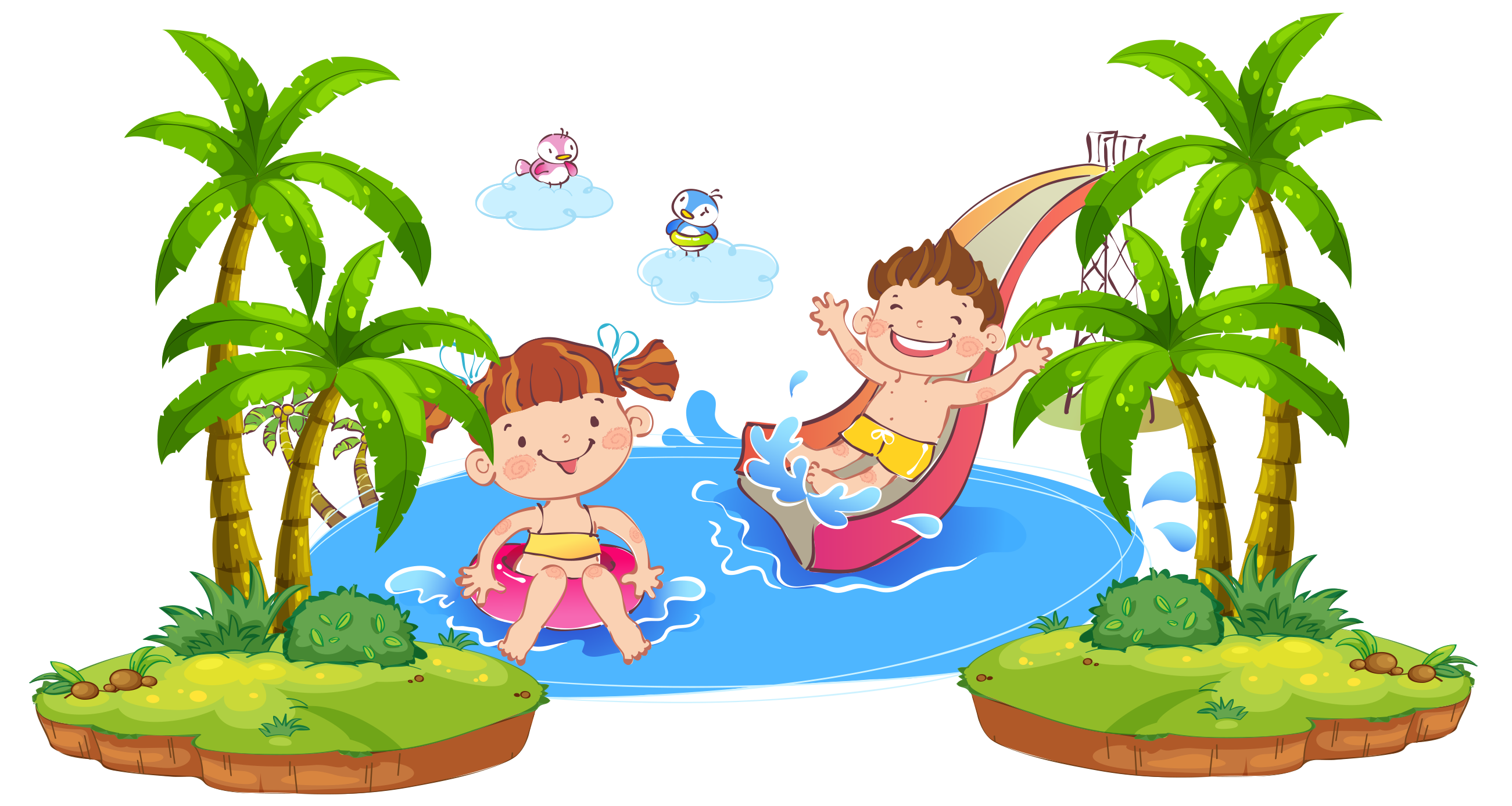 Child cartoon illustration playing. Splash clipart water play