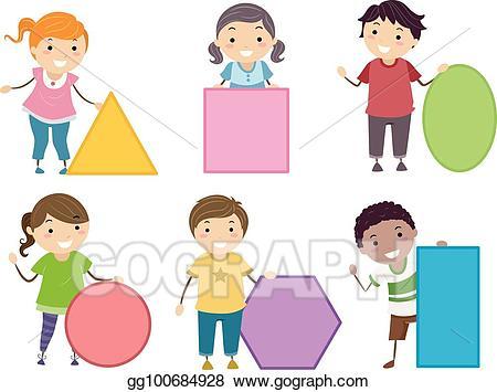Vector stickman kids basic. Square clipart shape person