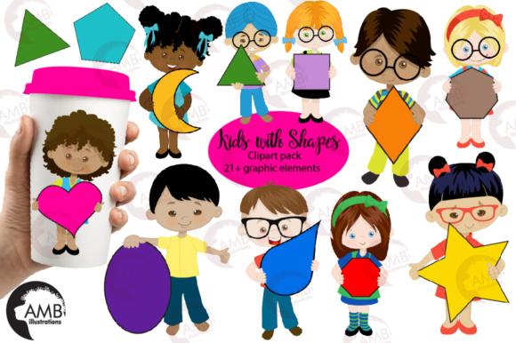 Multi cultural kids with. Shapes clipart preschooler