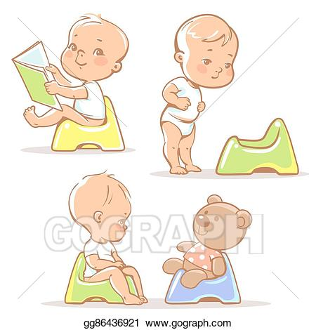 Toddler clipart baby learning. Vector art on potty