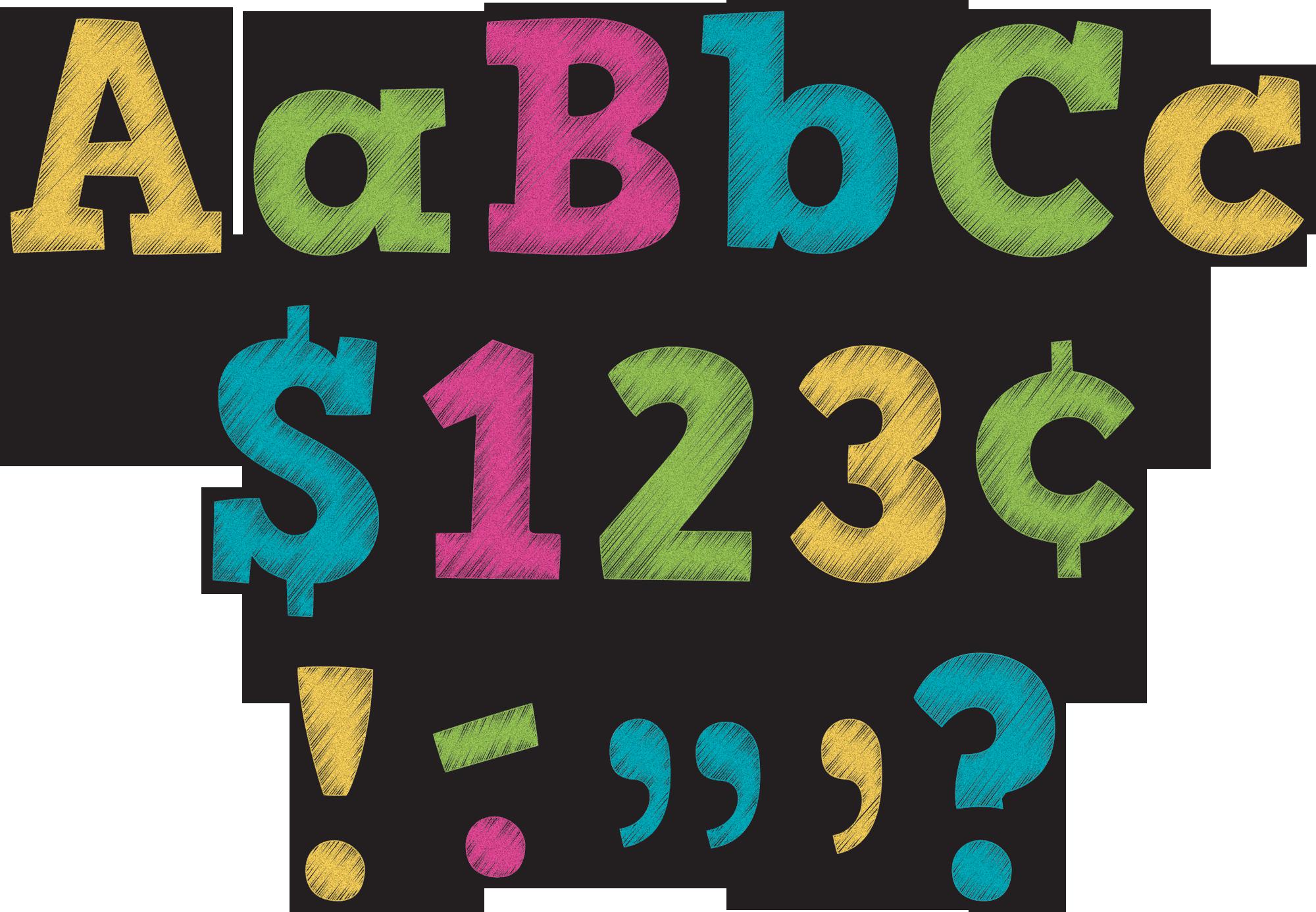 Brights bold block letters. Preschool clipart chalkboard