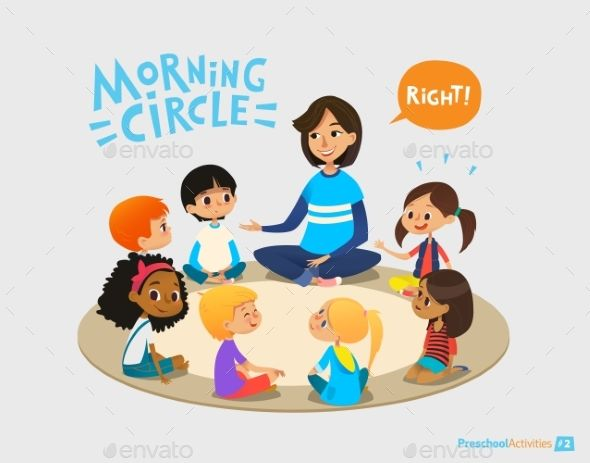 Circle time in . Kindergarten clipart early childhood