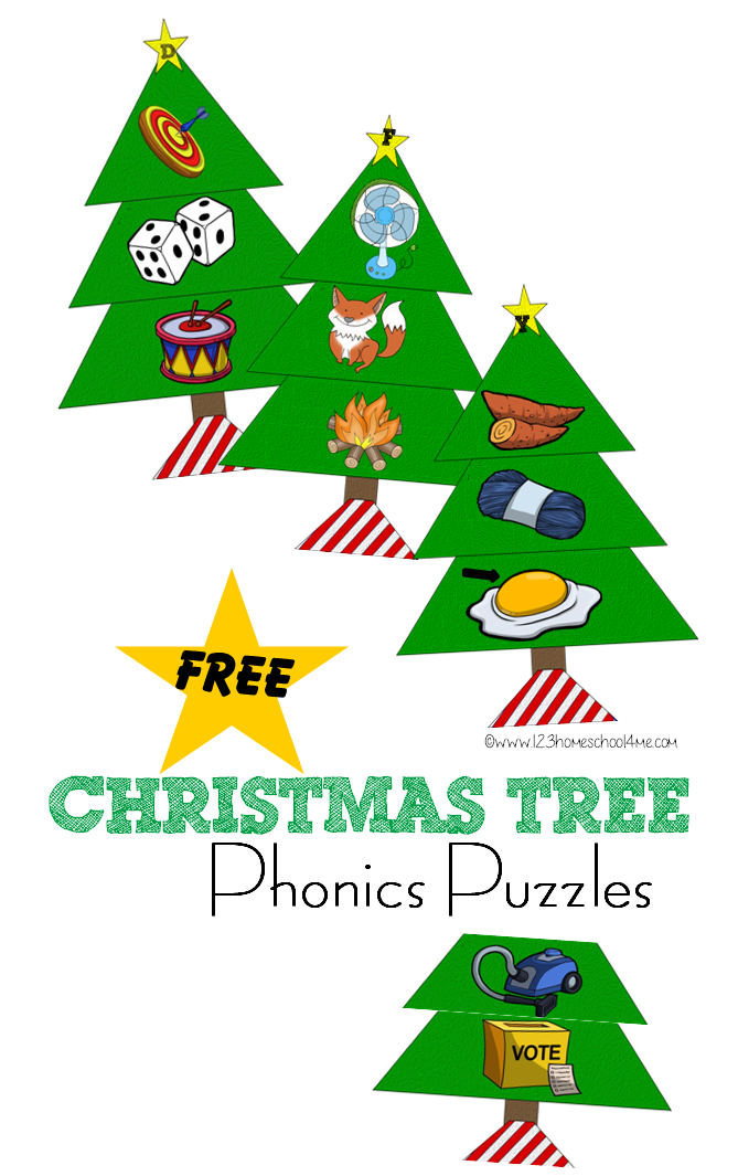 Christmas tree phonics puzzles. Puzzle clipart kindergarten